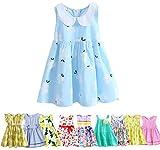 Abalaco Girls Kids 100% Cotton Summer Printed Sundress Floral Casual Toddler Tutu Dress (5-6 Years, 15)