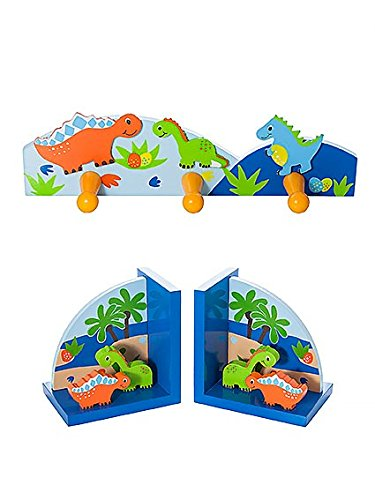 Mousehouse Gifts Kids Cute Dinosaur Coat Hooks and Bookends for Bedroom or Nursery Decoration