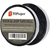 41 Feet Self Back Adhesive Tape Roll by TOPtoper Hook and Loop Strips 0.8 inch (Black)