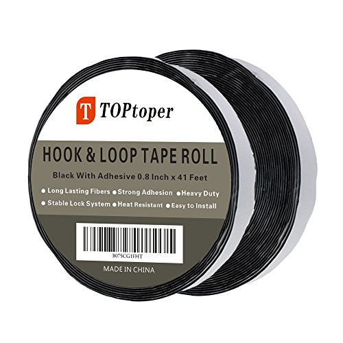 41 Feet Self Back Adhesive Tape Roll by TOPtoper Hook and Loop Strips 0.8 Inch (Black) (Mounting Adhesive Roll)