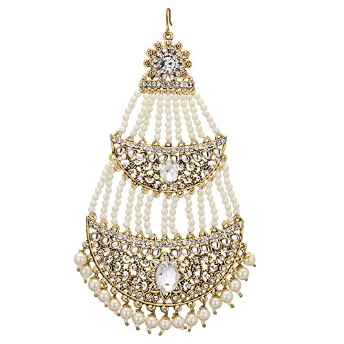 Jwellmart Indian Ethnic Collection Gold Polish CZ Faux Pearl Passa/Jhoomer for Women and Girls by Jwellmart