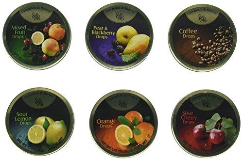Cavendish & Harvey Hard Candy Drops 1.75oz Tins (6 Flavor Mix, Variety Pack)