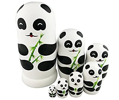 Winterworm Adorable Lovely Panda Holding Bamboo Handmade Wooden Russian Nesting Dolls Matryoshka Dolls Set 7 pieces For Kids Toy Birthday Christmas Gift Home Decoration