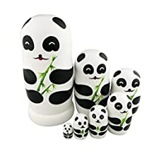 Winterworm® Adorable Lovely Panda Holding Bamboo Handmade Wooden Russian Nesting Dolls Matryoshka Dolls Set 7 pieces For Kids Toy Birthday Christmas Gift Home Decoration