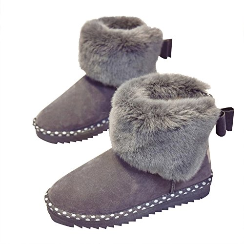 With Skid Grey Women's Aa Resistant Optimal Warm Snow Fully Boots Lined Decorative Ankle Winter Fur Boots Bows OZRvZ