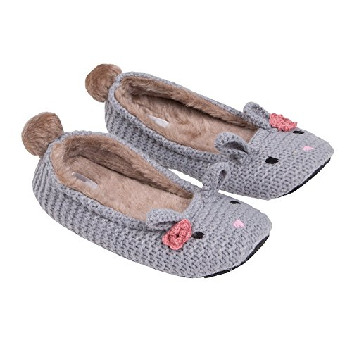 MiYang Women's Super Soft Bunny Ballerina Slipper Grey