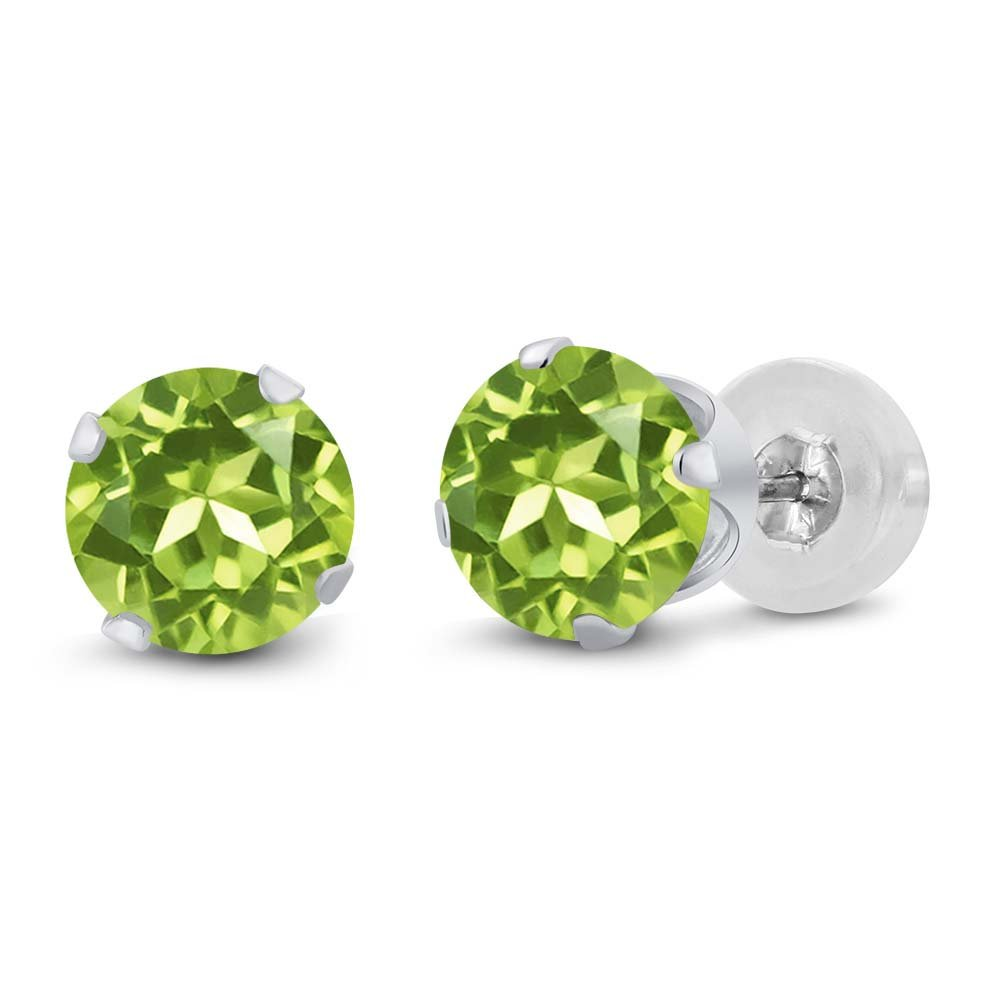 14K White Gold Green Peridot Women's Jewelry Stud Earrings (1.80 Cttw, Gemstone Birthstone, Round 6MM)