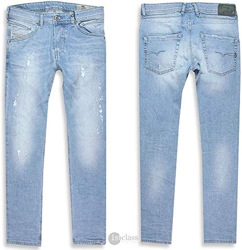 Diesel jeansy męskie Belther Classic Light Blue Treated (Regular Slim Tapered) - 33W / 30L: Odzież