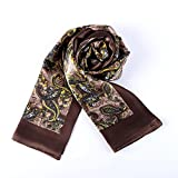 Charmeuse Satin Silk Scarf for Men (Brown with Paisley Pattern)
