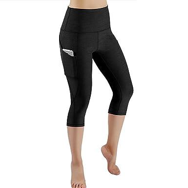 Lonshell Femmes Legging de Sport Pantacourt Femme avec Poches Taille Haute  Pantalon Yoga Collant Capri Danse 3dfb9eec7ce