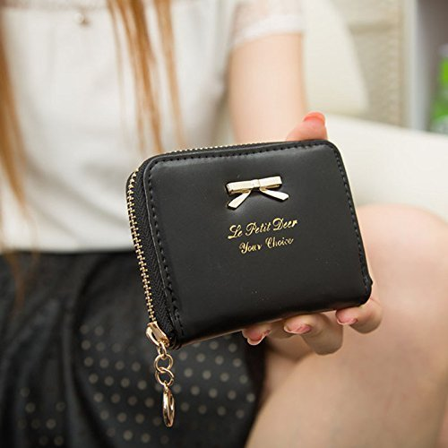 Women Girls Cute Bowknot Waterproof PU Leather Fold Mini Short Wallet Coin Purse Zipper Card Case Holder Clutch Small Handbag Nice Gift by Fakeface (Image #1)