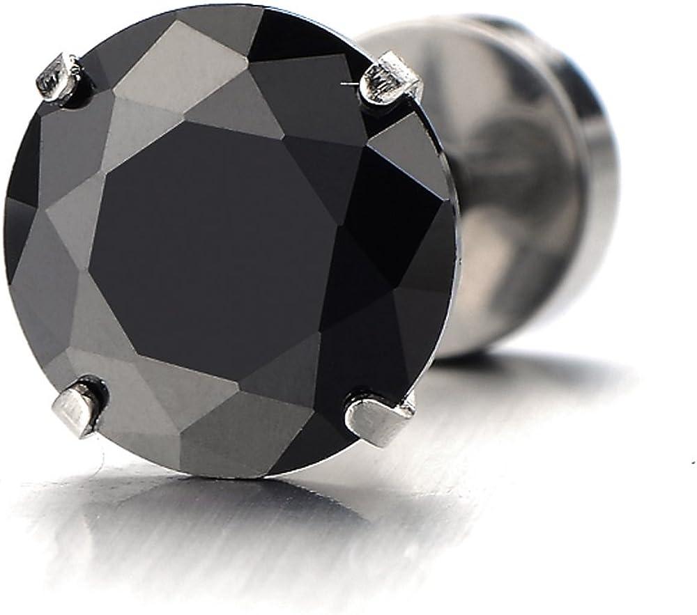 1 Paire 3-8MM Zircon Cubique Noir Boucles doreilles Homme Femme Clous doreille Couleur Noir Mixte Acier