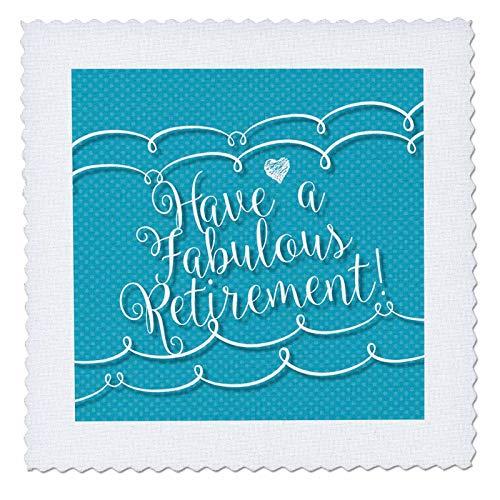 (3dRose Russ Billington Designs- Connected- Sentiments - Have A Fabulous Retirement-Text in Connected Scipt Over Blue Polkadots - 20x20 inch Quilt Square (qs_302316_8))