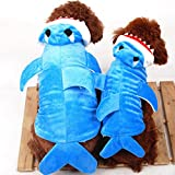smalllee_lucky_store XY000055-Blue-XL Small Dog Shark Pajamas Animal Hoodie Costume, Blue, X-Large