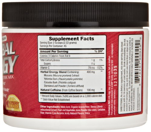 Integrated Supplements Herbal Energy Diet Supplement, Raspberry Lemonade, 100 Gram
