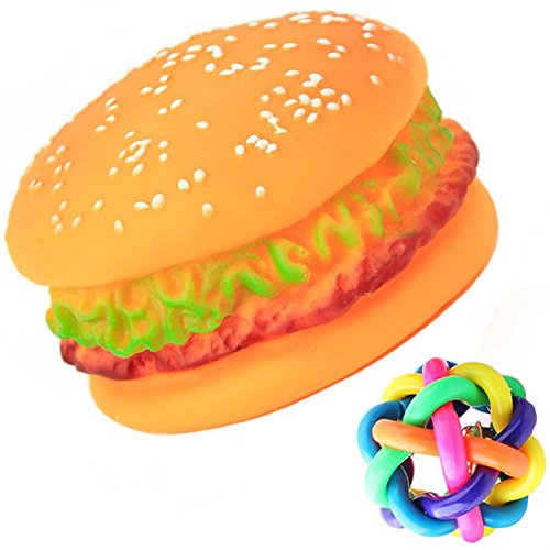 - SIMPLEST LIFE Supplies Realistic Boss Hamburger Squeaky Sound Chewing Toys for Dogs with a Free Colorful Bell Ball