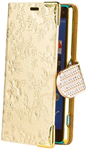 Sony Xperia Z3 Compact   iCues Chrome Flower Wallet Gold   [Screen Protector Included] Floral Folio Flip Case Crystal Diamond Rhinestone Bling Glitter Women Girl