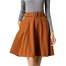 QincLing Womens High Waist Belted Wool Midi Skirt Winter Fall A Line Flare Skirt