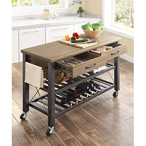 Whalen Santa Fe Kitchen Cart with Metal Shelves and TV Stand -