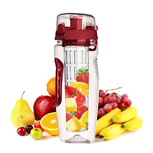 KOBWA - Botella de agua para infusor de frutas, a prueba de fugas, sin BPA, con barra de infusión de longitud completa, tapa...