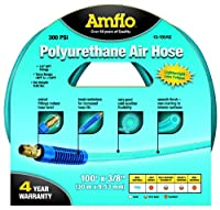 "Amflo 13-100AE Blue 300 PSI Polyurethane Air Hose 3/8"" x 100' With 1/4"" MNPT Swivel Ends And Bend Restrictor Fittings"