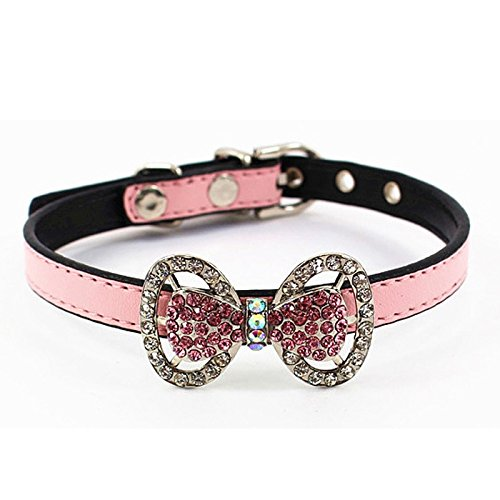 Pet Necklace Collar Charm, Stock Show 1Pc PU Leather Bowknot Studded Bling Rhinestone Collar Outfits Accessories for Small Medium Dogs/Cats