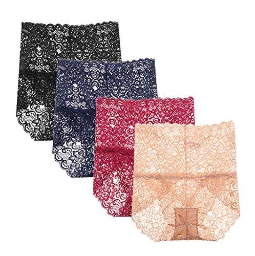 - Femaroly Women's Sexy Lace Panties Ladies High Waist Hips Abdomen Cotton Knickers 4 Pack Black/Blue/Red/Skin US M=Hip:37