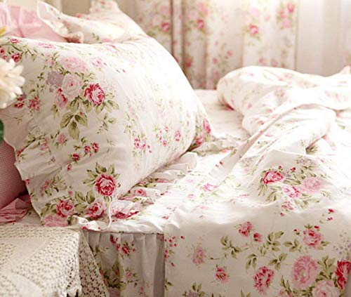(FADFAY Duvet Cover Sets Full Farmhouse Bedding Bulgaria Rose Printed with Bedskirt 100% Cotton Hypoallergenic with Hidden Zipper Closure, Full Size 4-Pieces)