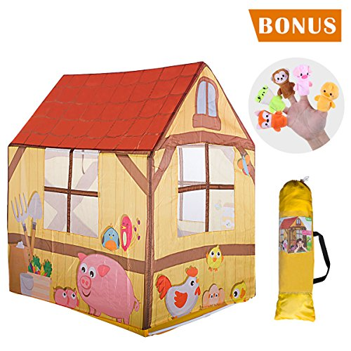 SilverFox Kids Tent Farm Theme Kids Play House Toddler Pop Up Tent, Foldable and Lightweight, for Boys and Girls with 2pcs Finger Puppets Toy as Bonus