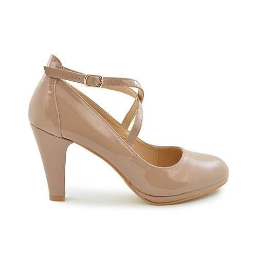 productos de calidad precio razonable tienda del reino unido Zapato salón para Mujer en Color Nude de Charol: Amazon.es ...