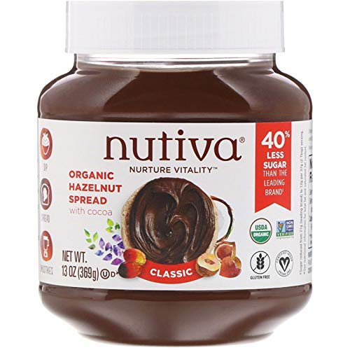 Nutiva Certified Organic, non-GMO, Vegan Hazelnut Spread with Cocoa, Chia and Flaxseed, Classic Chocolate, - Vegan Gluten Butter Free