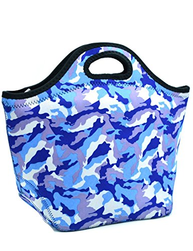 Neoprene Lunch Tote,Insulated Waterproof Lunch Bags For Men,Women,Adults,Kids,Girls.Reusable,Washable,Water-proof Foldable,Light,Zipper (BLUE Camouflage)