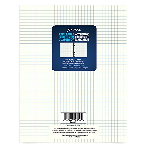 Filofax Refillable Notebook - Squared Refill Sheets, 10.875-inch x 8.5-inch, 32 Sheets (B112905U)