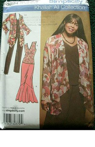 Simplicity Khaliah Ali Collection Pattern 3894 Women's Jacket and Knit Top, Pants and Skirt Sizes 20W-28W ()