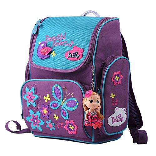 Delune Elementary School Backpack Purple Butterfly Orthopedic Bookbag for Girls