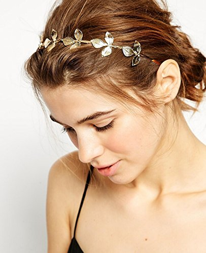 Unicra Wedding Headband for Bride-Bridal Greek Goddess Headpiece for Wemen Leaf Branch Dainty Bridal Hair Crown Head Dress Boho Alice Band