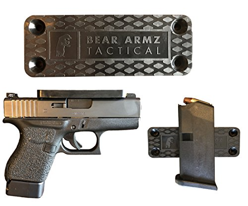 Gun Magnet Mount & Holster For Vehicle And Home I Rubber Coated w/ Adhesive Backing I 35 Lbs Rated I Firearm Accessory I Concealed Holder For Handgun, Shotgun, Pistol, Truck, Car, Wall, Vault, Desk