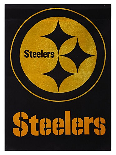 Team Sports America Nfl Pittsburgh Steelers Suede Glitter Embellished Logo 2 Sided House Flag Medium Multicolored