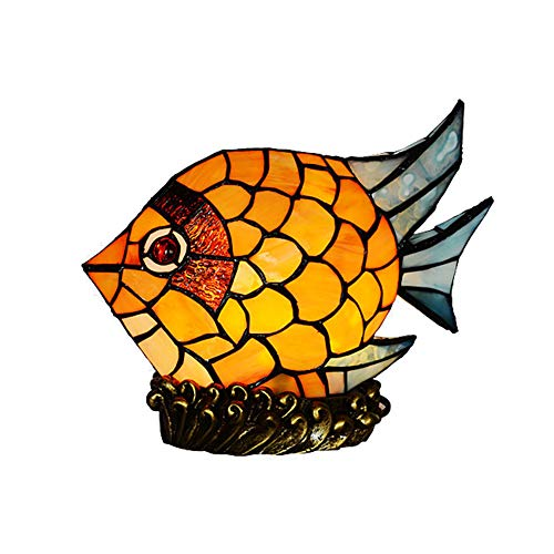 CCSUN E14 Kids Tiffany Style Nightstand lamp, Fish Shape Stained Glass Shade Table Light Vintage Night Light H9'' W9'' for Room Decoration-A