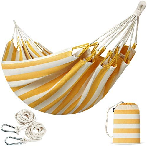 INNO STAGE Brazilian Double Hammocks – Woven Hammock Two Person Hanging Camping Bed for Patio, Backyard, Porch, Outdoor and Indoor Use – Soft Cotton Hammock with Portable Carrying Bag