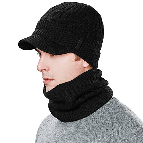 2 Piece Wool Knit Hat & Scarf Sets Visor Beanie Fleece Lined Cold Weather Winter Hat Jeep Cap w/Neck Warmer Gaiter ()