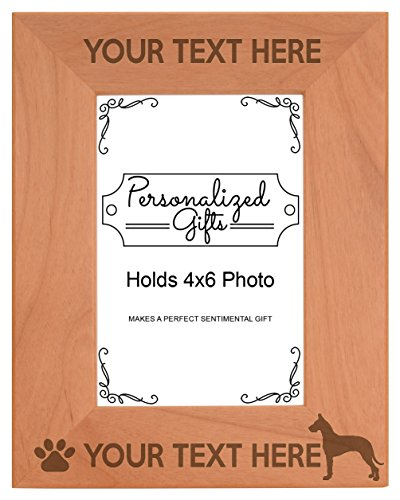 Personalized Gifts Custom Dog Picture Frame Great Dane Your Text Best Great Dane Ever Customized Dog Name Natural Wood Engraved 4x6 Portrait Picture Frame Wood