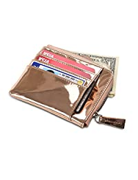 Secret Felicity Lady Women's Leather Compact Small Wallet (SFB7) (Pink Gold)