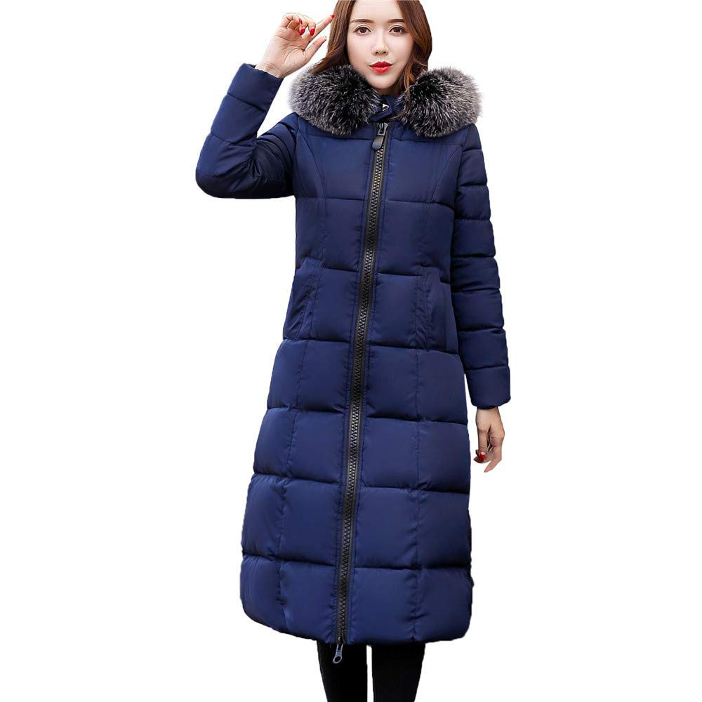 Lang Mantel Damen Briskorry Frauen Dicker Warme Steppmantel Winterparka Übergangsjacke Fellkapuze Daunenjacke Wärmemantel Trenchcoat Mit Reißverschluss Briskorry Daunenjacke Damen