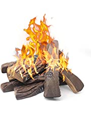 Gas Fireplace Logs,10pcs Large Faux Firepit Logs, Mr. Ton Decorative Ceramic Wood Log Set for Indoor Outdoor Gas Insets, Vented,Ventless, Electric,Ethanol,Gel Fireplaces
