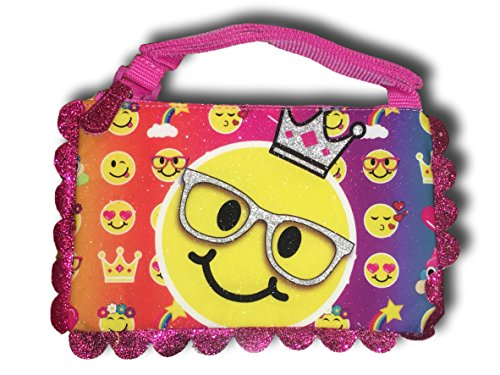 Girls Cross Body Handbags Pocketbooks Frozen, Hello Kitty, Shopkins, Wonder Woman & Emoji (Glitter Emoji)