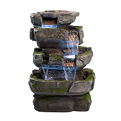 "Wilson Rock Fountain: Stunning Outdoor Water Feature for Gardens & Patios. Weather Resistant w/LED Lights & Pump. - ✔ DIMENSIONS: 22"" Tall x 17"" Wide x 14"" Deep - WEIGHT: 28lbs - COLOR: Moss Covered Greys ✔ QUICK AND EASY out of the box set up - Perfect water feature for outdoor, gardens, backyards, decks, patios and porches. ✔ DURABLE light-weight cast resin and fiberglass water fountain - Expertly hand crafted by skilled artisans - patio, fountains, outdoor-decor - 51i4k8l45FL. SS400  -"