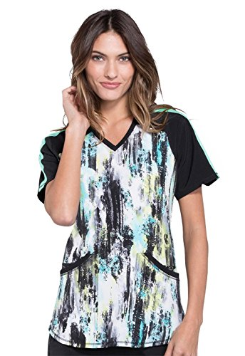 Cherokee Infinity Women's V-Neck Abstract Print Scrub Top Medium Print