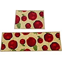 Ozzptuu Set of 2 Rectangle Red Apple Kitchen Area Rugs Mats with Non-slip Latex Back Bedside Window Floor Mat Doormats