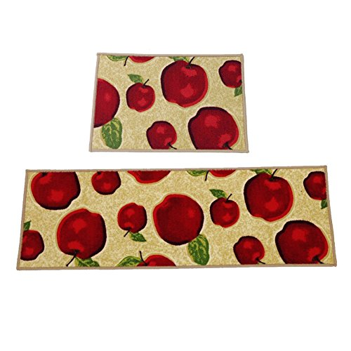 Ozzptuu Set of 2 Rectangle Red Apple Kitchen Area Rugs Mats with Non-slip Latex Back Bedside Window Floor Mat Doormats Review